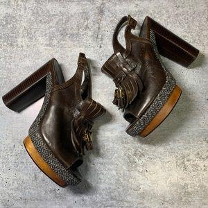 Tory Burch💕Tassel Leather Kiltie Chunky Heel
